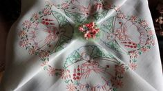 """Vintage Hand Embroidered Crinoline Lady Roundels Tablecloth 40"""" x 42"""""""