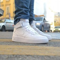"nike air force 1 mid (gs) ""all white"" Nike Air Force Ones, Nike Air Force High, Nike Shoes Air Force, Air Force 1 Mid, Neon Nikes, Nike Neon, Sneakers Mode, Classic Sneakers, Sneakers Fashion"