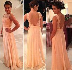 2014 Hot Selling Peach Chiffon Lace Prom Dress Sexy Open Back Prom Dress Beaded Evening Dress Gorgeous Bridesmaid Dress