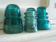 Vintage Glass Insulators  Aqua Blue Hemingray