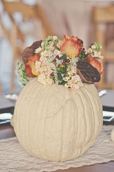 White Pumpkin Centerpieces | Connection Photography https://www.theknot.com/marketplace/connection-photography-locust-nc-496035 | Swan Island Dahlias https://www.theknot.com/marketplace/swan-island-dahlias-canby-or-417789