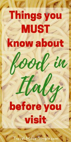 Food in Italy is an important part of the culture. Here are some things to know about eating in Italy so you can enjoy this part of your Italy vacation. Italian food | Italian cuisine | what you need to know about eating in Italy #italy