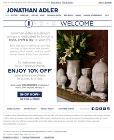 Jonathan Adler welcome email Dec 2013