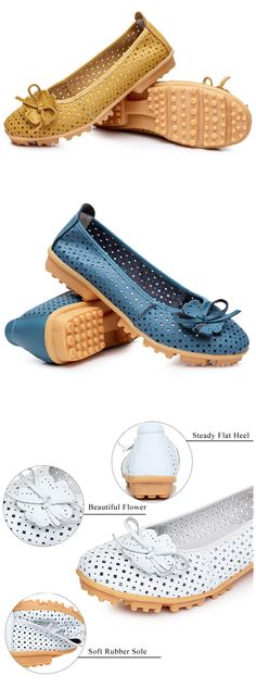 US$16.45 Flower Butterflykont Hollow Out Breathable Soft Sole Slip On Flat Loafers