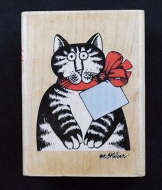 B Kliban Cat For You Wood Mount Rubber Stamp To From Gift Tag Ribbon Stampede #RubberStampede
