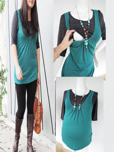 GREEN VEST w Grey Maternity Nursing Top  www.modernmummy.com