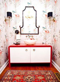 powder room mirror + sconces