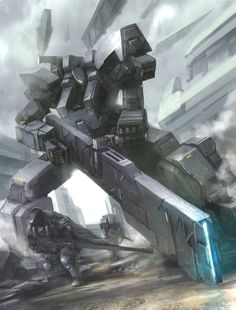 Rail gun take cover! by matgyro on DeviantArt Sci Fi Armor, Sci Fi Weapons, Cyberpunk, Mecha Suit, Hollow Art, Futuristic Armour, Knight Art, Robot Concept Art, Ex Machina