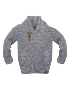 Our cotton-knit Cillian jumper for boys is designed with a shawl neckline, button details and a kangaroo pocket. Team this trendy piece with his favourite pair of jeans.