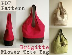 Brigitte Flower Totebag PDF Sewing Pattern by Delinda Boutique Designs + How to Put a Gusset on a Bag - by Jeni Baker  #sewing