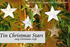 Tin Christmas Star Ornaments - CreativeMeInspiredYou.com