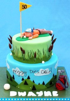 Golf themed cake I did yesterday. WASC, filled with swiss meringue butter cream, iced with white chocolate ganache, finished with marshmallow fondant. All detail is fondant except flag pole and golf club handles. Letters were cut free hand with an. Golf Birthday Cakes, Sports Themed Cakes, Birthday Cupcakes, Golf Cakes, 50th Birthday, Father Birthday, Birthday Ideas, Birthday Parties, Happy Birthday