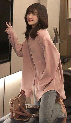Fashiontroy Street Style long sleeves white pink oversized solid color corduroy shirt autumn winter Petite Clothing Online, Asian Street Style, Fall Winter, Autumn, Petite Outfits, White Long Sleeve, Workout Wear, Corduroy, Korean Fashion
