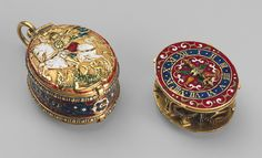 Watch in the form of a Lesser George Movement by Nicholas Vallin London ca. 1590, Case: gold, partly enameled, and rock crystal; Dial: gold, partly enameled, with gilded-brass hand; Movement: gilded brass and steel, partly blued.