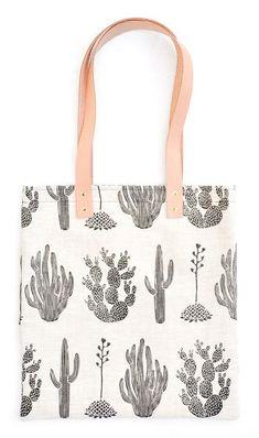 Cactus Print Linen Tote