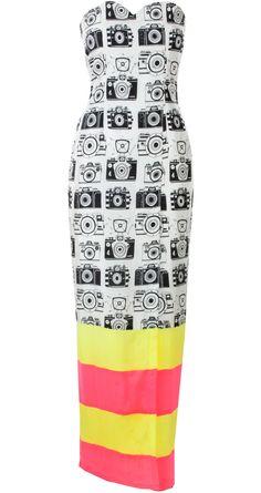 Camera print wrap dress