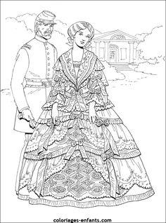 Vintage Fashion Coloring Page Belle Epoque
