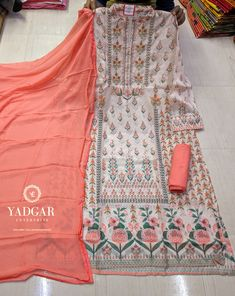 Muslin Semi-Stitched Suits WhatsApp- 9033314299 for Reselling /Retail Shops Printed Kurti Designs, Simple Kurti Designs, Kurta Designs Women, Salwar Designs, Kurti Designs Party Wear, Baby Dress Design, Ladies Dress Design, Fancy Dress Material, Wholesale Boutique Clothing