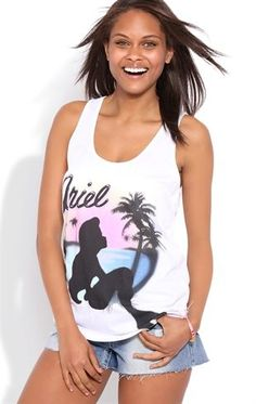 Deb Shops Tank Top with Slash Back and Airbrushed Ariel Screen $19.00