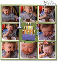birthday layout (could do this with pics of eating anything: ice cream, berries, muffins..)