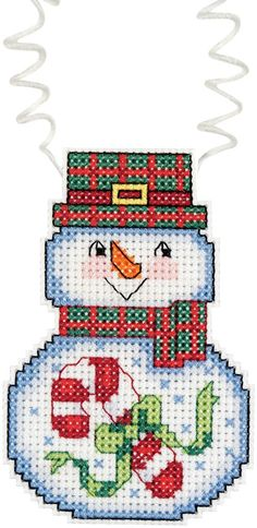 """Holiday Wizzers Snowman With Candy Cane Counted Cross Stitch-3""""""""X2.25"""""""" 14 Count"""