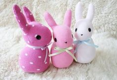 Handmade soft sock bunny Pink polka dots pattern by CattaDolls