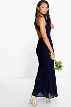 Carol Chiffon Open Back Fish Tail Maxi Dress