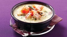 Golden Potato Chowder with Ham & Mushrooms. Don't Underestimate Spuds: Potatoes have been treated unfairly over the years, but the redskins in this recipe provide about half of this recipe's vitamin C and potassium – you'll meet nearly 30% and 33% of your DV of the two nutrients, respectively, in 1 hearty serving. While the well-known immunity vitamin is also necessary for the formation of collagen and the healing of wounds, the mineral potassium may help lower blood pressure.