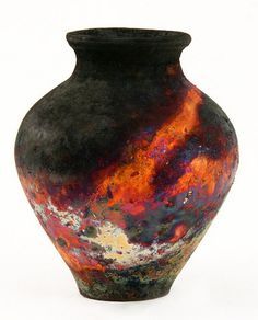 Raku ~ By Pat Armstrong from the UK. Love the matt black, and the orange and other colours are amazing Glass Ceramic, Ceramic Clay, Raku Pottery, Glazed Pottery, Vase Design, Art Asiatique, Sculptures Céramiques, Art Japonais, Contemporary Ceramics