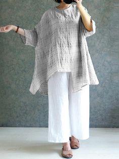 3f1d40022d 5 Colors Vintage Women Long Sleeve Plaid Asymmetrical Blouse - Banggood  Mobile