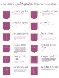 The ultimate patch pockets fashion vocabulary More Visual Glossaries (for Her): Backpacks / Bags / Beads / Belt knots / Bobby Pins / Boots / Bra Types / Braids / Buns / Chain Types / Coats / Collars / Darts / Dress Shapes / Dress Silhouettes /. Fashion Terminology, Fashion Terms, Fashion Guide, Trendy Fashion, Style Fashion, Fashion Women, Fashion Outfits, Techniques Couture, Sewing Techniques