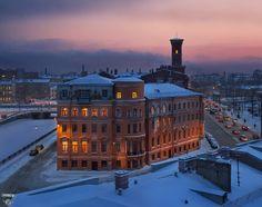 Площадь Репина, проспект Римского-Корсакова, зима, город, крыши