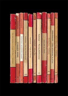 Radiohead's album 'Amnesiac' as vintage books, by Simon James