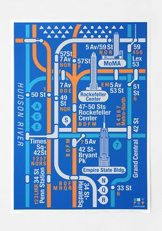 another modern subway map that involves illustrated landmarks. could be used as inspiration for any buildings, grapes, road signs, etc. that could be in/around the vineyards. Manhattan Map, Metro Map, Subway Map, Map Globe, Rockefeller Center, Wayfinding Signage, Graphic Design Studios, Map Design, New York