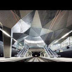 faceted industrial ceiling
