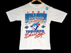 Vintage 1992 Deadstock Toronto Blue Jays World Series Champions T-Shirt - Medium - MLB - 90s Clothing - Baseball - Canada - Bluejays - by BLACKMAGIKA on Etsy