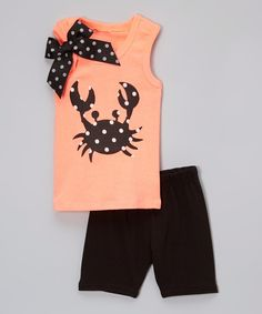 Another great find on #zulily! Beary Basics Neon Orange Crab Tank & Black Shorts - Infant, Toddler & Girls by Beary Basics #zulilyfinds