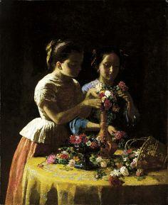 Girls and Flowers by George Cochran Lambdin / American Art