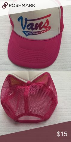 NWOT Vans Mesh SnapBack Purchased at warped tour, but never worn. Slight creasing from storage, but cannot be seen when worn. The back is adjustable, and mesh. Needs a new home!  💕💕Closet details💕💕 Completely posh compliant closet! 🎀 no trades 🎀 no holds 🎀 offers only through offer button 🎀 very negotiable! I'm more likely to make you a better deal without the bundle feature! So talk to me and let's see what we can do! 🎀 Happy poshing! 🎀💕 Vans Accessories Hats