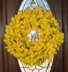 Yellow Tulip Wreath Mother's Day Wreaths by WelcomeHomeCreative