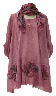 Lagenlook Quirky Layering Floral Print Scarf Tunic Top Shirt Cotton--I like this, but maybe not this exact color