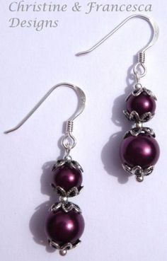 Gorgeous burgundy colour glass pearls in a lovely design ♥ .925 Sterling Silver BURGUNDY Glass Pearl Drop Bead Earrings + Gift Box & Organza Gift Bag ~ by Christine & Francesca Designs
