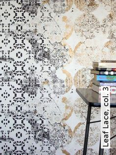 Danish textile designer Lene Toni Kjeld of Wall Decoration, who presented a new collection of wallpaper designs called Meta One. Lace Wallpaper, Print Wallpaper, Pattern Wallpaper, Wallpaper Designs, Beautiful Wallpaper, Transitional Wallpaper, Thing 1, Eclectic Decor, My Living Room