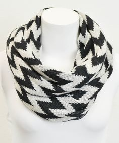 Love this Leto Collection Black & White Two-Tone Zigzag Infinity Scarf by Leto Collection on #zulily! #zulilyfinds