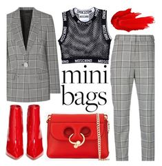 """""""Mini Bags"""" by trinirockstarr ❤ liked on Polyvore featuring Gianvito Rossi, J.W. Anderson, Maybelline, Alexander Wang and Moschino"""