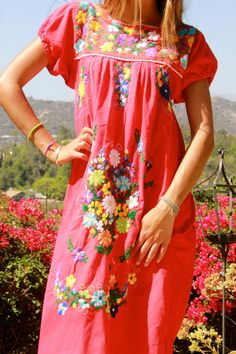 Cherry Red Sweet Sweet Sweet Vintage Mexican Dress Hand by Vdingy