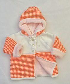 Warm knitted vintage  Babyjacket size 0-3,3-6, 6-9 months orange new old stock reborn baby layette nostalgic babyoutfit babyclothes boy girl door Smufje op Etsy