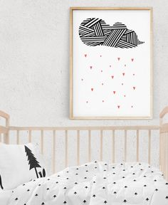 Nursery Wall Art, LOVELY RAIN Nursery Printable Illustration, Kids Poster, Pink Room Decor, Rain Digital Print, Instant Download