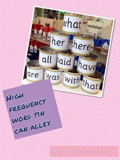 High frequency word tin can alley. Knock down words, read them and put them into sentences. EYFS