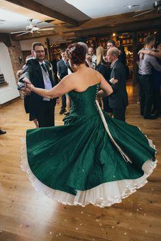 Emerald green wedding dress spinning on the dance floor!